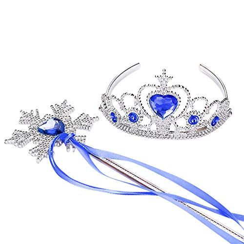 ra Strass Dekor Dress up Tiara Prinzessin Krone mit Prinzessin Zauberstab ()