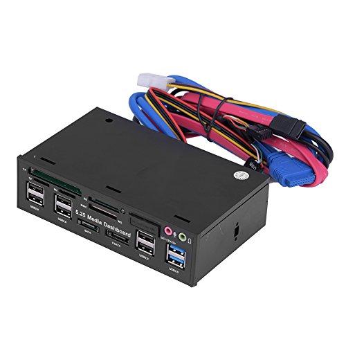 Richer-R Medien Multifunktions Dashboard, 5.25 Zoll Media Armaturenbrett Frontplatte Dashboard USB3.0/2.0 Hub eSATA SATA Audio Multi Kartenleser,unterstützt M2/TF/SD/MMC/MS/CF Schwarz Audio Von 5,25