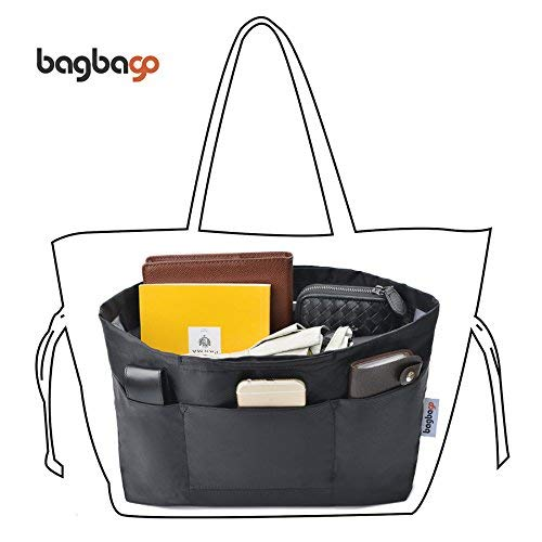 Bag in Bag Handbag Organiser with zipper, Black