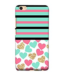 PrintVisa Designer Back Case Cover for Vivo Y55L :: Vivo Y55 (Cute Romantic Lovable Hearts Strips Horizontal)