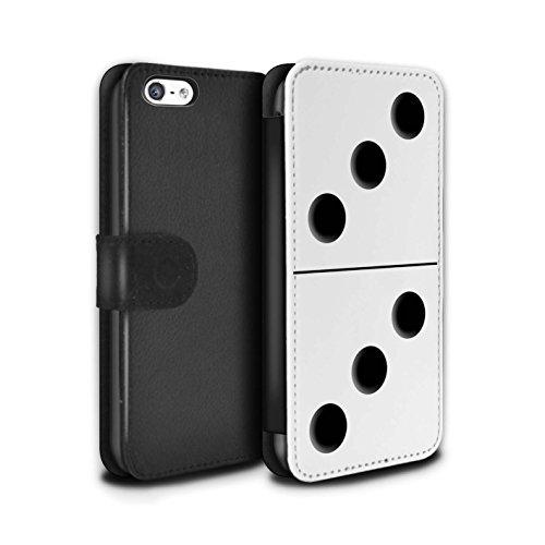Stuff4 Coque/Etui/Housse Cuir PU Case/Cover pour Apple iPhone 5C / Tuile Blanc 5/1 Design / Domino/Dominos Collection Tuile Blanc 3/3