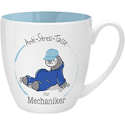 Gruss & Co 45497 Anti-Stress Tasse für Mechaniker, 45 cl, Geschenk, New Bone China, Blau, 9.5 cm