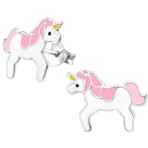JAYARE Kinder-Ohrstecker Einhorn 925 Sterling Silber 11 x 15 mm weiß rosa gelb schwarz Mädchen-Ohrringe im Schmuck-Etui -