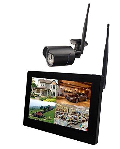 9' Touchscreen HD Funk Überwachungssystem Digital Videoüberwachung System Echtzeit inkl. 500GB Festplatte 1 HD Funkkamera IR Nachtsicht H.264 mit Mikrofon