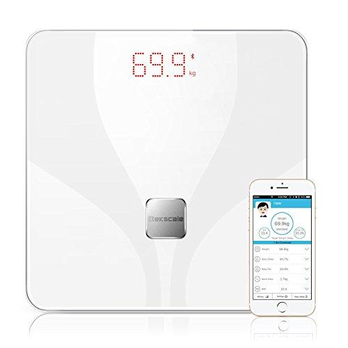 Etekscale Digitale Personenwaagen Gewichtswaage mit Bluetooth,Smarte Körperwaage mit großer Digitale Highlight LED Display für 8 Körperanalyse in Elegant White