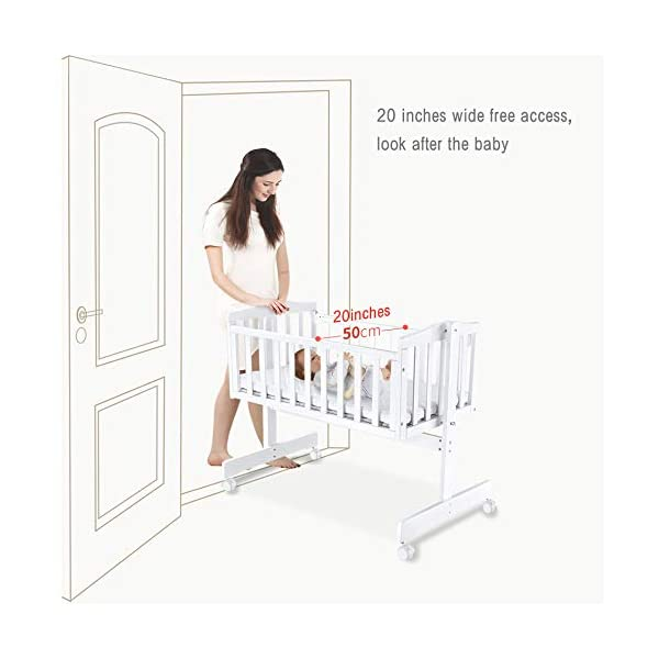 RUNQIAN Swinging Crib, Deluxe Multifunction Gliding Crib White RUNQIAN Create a relaxing sleeping area for your precious child and feel like you are swaying in your arms Suitable from birth to 6 months Simple locking device for easy locking in the rest position 4
