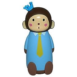 Manbhari Cute 3D Monkey Style Stainless Steel Water Bottle Cartoon Style Leakproof Bottle 230 ML (Blue)