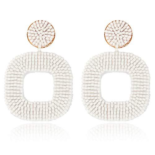 rringe Damen Hängende Ohrringe Mädchen Ohrschmuck Boho Statement Tropfen Ohrringe Geometrisch Quadrat Acryl Perlen Baumelnde Ohrringe Vintage Schmuck (Weiß) ()
