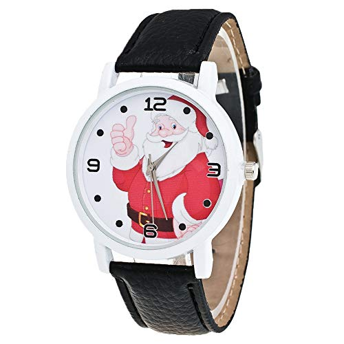 Watch, LANSKIRT Weihnachtsgeschenk Lady Glas Spiegel Uhr Weihnachtsmann Muster PU Lederband (♥ Black)