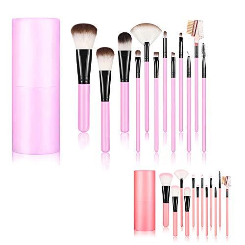 Profi Make Up Pinsel Core 12PCS SET Foundation Blending Blush Eyeliner Puder-Pinsel-Set Make-up Tool mit Cup Kunststoff-Halterung Fall Best Geburtstag Geschenk für Ihre Lover (Pink) (Eyeliner-geschenk-set)