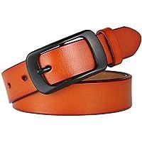 XIANGYINGZHIJIA Cinturón de Correa de Cinturón de Cuero Cinturón Hebilla Correa de Ocio, 110cm, Camello