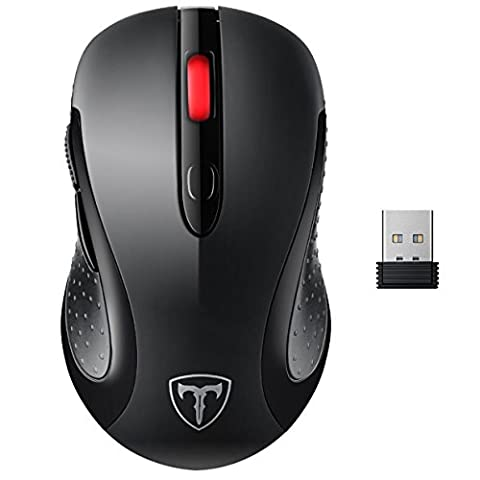 Wireless Mouse, Patuoxun 2.4G USB Wireless Mice Optical PC Laptop Computer Mouse with Nano Receiver, 2400 DPI 5 Adjustment Levels, 6 Buttons for Windows Mac Macbook Pro Linux Apple iMac - Super Energey Saving