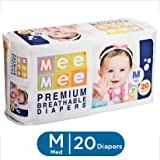 Mee Mee Premium Breathable Baby M Diapers (20 Pieces)
