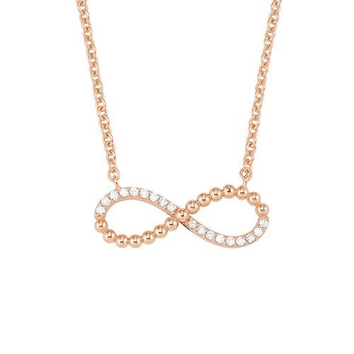 s.Oliver Damen Kette mit Anhänger Infinity-Motiv Sterling Silber 925 rosévergoldet rhodiniert 42+3cm