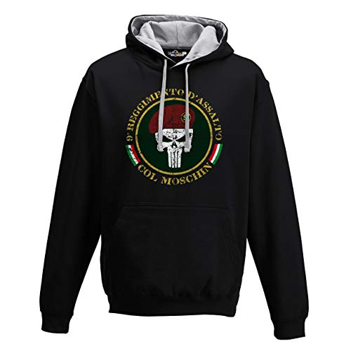 KiarenzaFD Felpa Cappuccio Bico Militari Esercito col Punisher Moschin Italia 9 Reggimento
