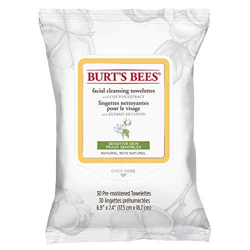 Burt\'s Bees Natürlich  Feuchttücher zur Gesichtsreinigung für empfindliche Haut mit Baumwollextrakt, 1er Pack x 30 Stück