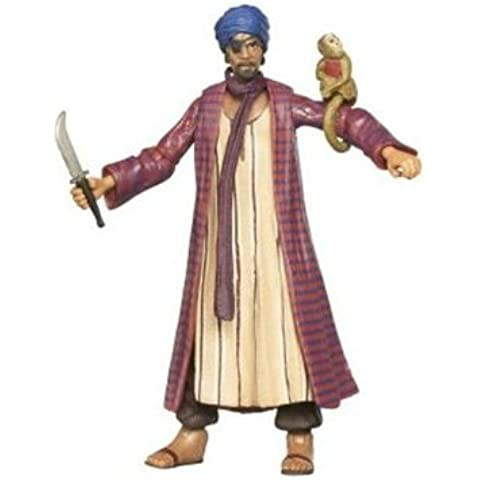 Indiana Jones Movie Series Raiders of the Lost Ark 10cm Tall Action Figure - Monkey Man with Colourful Robe, Caftan, Mysterious Looking Eye Patch, His Pet Monkey and a Dagger Plus Hidden Relic Accessories - Indiano Dagger