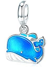 91050d9b799f HSUMING Linda Ballena Azul Encanto Perlas de Esmalte DIY joyería Colgante  Fit Pandora Pulsera para Mujeres