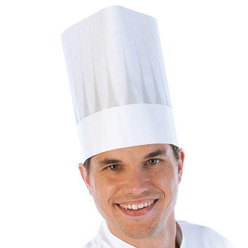 Papier-Kochmütze, Kochhaubes, Einweg-Kochmütze, Chefkochmütze, Küchenkopfbedeckung mit Faltenschattierung in weiß