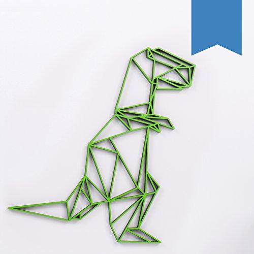 (KLEINLAUT 3D-Origamis aus Holz - Wähle Ein Motiv & Farbe - T-Rex - 95,4 x 100 cm (XXL) - Hellblau)