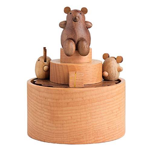 ZJ- à musique Boîte à Musique en Bois Boîte à Musique carrousel Cadeaux de Noël (Couleur : Bear)