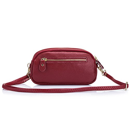 MeiliYH 2017 Sacchetto di mano delle signore di doppietta di modo del pacchetto del sacchetto di mano del modello del Lychee di nuovo colore solido vino_rosso