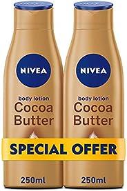 NIVEA, Body Care, Body Lotion, Cocoa Butter, Dry Skin,  2 X  250 ml