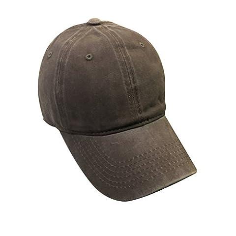 Tinksky Gewaschene gefärbte Baseballmütze Hut Verstellbare Baumwollkappe für Männer und Frauen (braun)