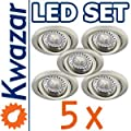 SUPER SET 5er: K-19 Einbaustrahler + POWER LED 3x1W! 35W! + GU10 Fassung 230V