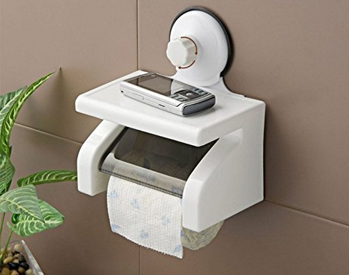 Hk Villa Home Reside Waterproof Bathroom Toilet Tissue Paper Roll Holder with Power Suction Cup,Off-White
