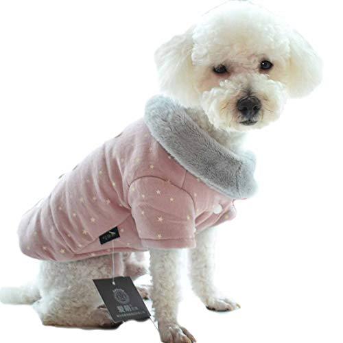 Winter Jacke für Kleine Mittlere Hunde Bedruckte Wollmantel Welpen Gilet Warme Coat Weste Haustier Kleidung Bequeme Veste Dicker...