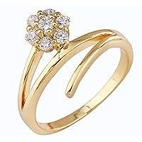 خاتم كريستال بأحجار الراين مطلي بالذهب 18 قيرات