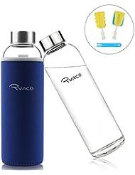 RYACO Bottiglia d'Acqua, 550ml Bottiglia Vetro Trasparente Portatile con Guaina Protettiva in Neoprene per Il Campeggio Viaggi tè Ufficio (Zaffiro)