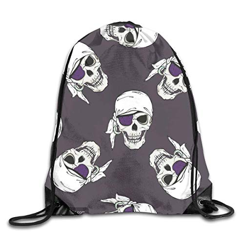 Hicyyu Drawstring Backpack Gym Bag Travel Backpack Purple Pirate Skull Small Drawstring Backpacks Women Men Adults