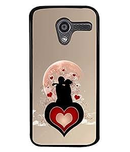 PrintVisa Designer Back Case Cover for Moto X (Romantic couple enjoying closeness heart)