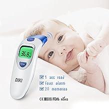 Fieberthermometer, DIKI 4 in1 Ohrthermometer Infrarot Stirnthermometer mit Fieberwarnung und Stiller Modus für Baby Kinder Erwachsenen und Objekte Oberflächen mit 1 Sekunde Messung Zeit höhe Genauigkeit, CE/FDA Zertifiziert