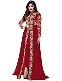 Gopinath Collections Designer Red Georgette With Codding Embroidery Work With Diamond Work