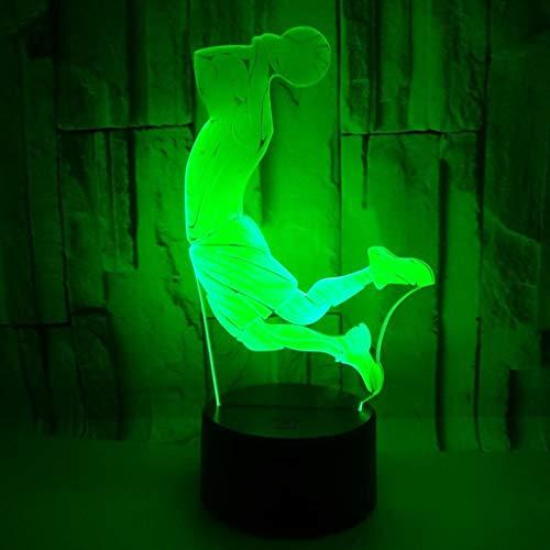 YFINER Nachtlicht Kreative 3D Visuelle Basketball Dunk Led Nachtlicht 7 Farbe Home Table Party Bar Decor Lampe Jungen Mann Kinder Favor