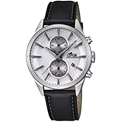 Lotus Men's Quartz Watch with Silver Dial Chronograph Display and Black Leather Strap 18313/1
