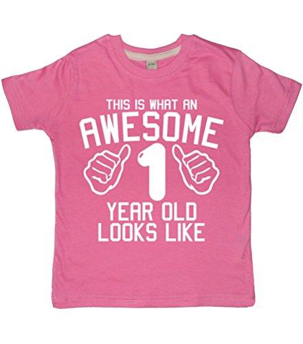rtiges, 1 Jahr alt aussehen wie Bubblegum Pink 1. Geburtstag für Mädchen T-shirt In Größen 1-2 Jahre, mit Glitzer, Weiß ()