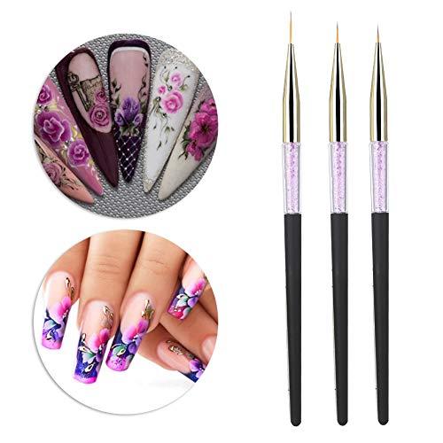 Pennello per unghie, 3pcs Nail Art Punteggiatura Liner Brush UV Gel Pittura Penna Strumento di disegno Set maniglia di strass(03)