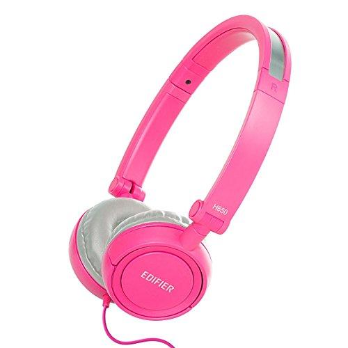 Solo-verstellbare Bügel (Edifier H650 Hi-Fi On-Ear Kopfhörer Geräuschabschirmung Klappbar Und Leicht Kopfhörer Passend Für Erwachsene Und Kinder Einheitsgröße Verstellbarer Bügel Pink)