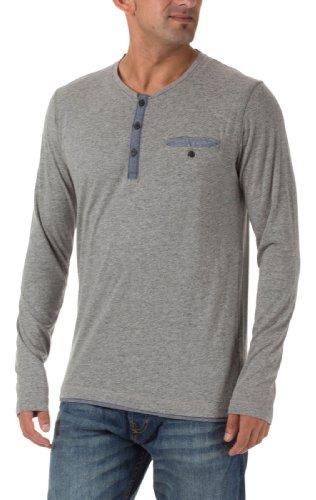 Selected Homme Herren Langarmshirts Dalston is double split neck C Light Grey Melange