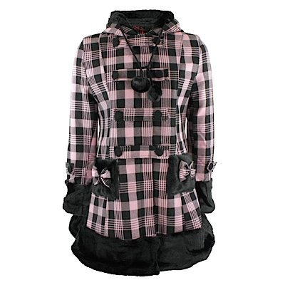 Hell Bunny breve cappotto ELISA COAT rosa/Nero Pink/Black 46