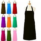 Grembiule da cucina unisex, con tasca, in tinta unita, lunghezza intera, per cuochi e camerieri professionisti, in diversi colori Black