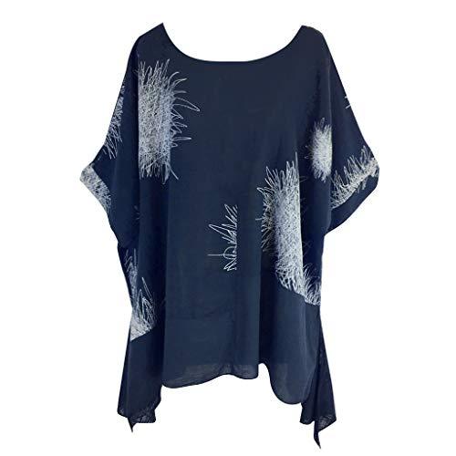 Zolimx Kurzärmliges Damen-T-Shirt aus Baumwolle und Leinen mit großem RundhalsausschnittPlus Size Frauen Kurzarm Druck Baumwolle und Leinen T-Shirts Tops Blusen -