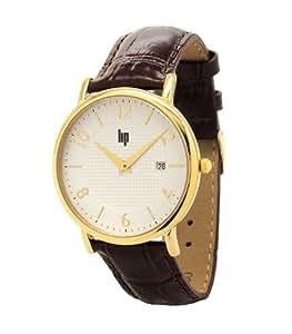 Lip Style - 10212022 - Montre Homme - Quartz Analogique - Cadran Blanc - Bracelet Cuir Marron
