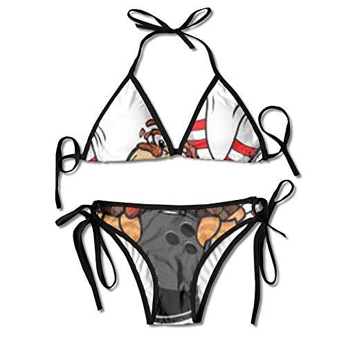Vidmkeo Women's Tie Side Bottom Triangle Bikini Swimsuits for Bowling Turkey Xmas Holiday Flower Print Black (Badeanzüge Ddd)