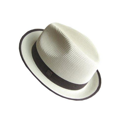 Dasmarca-collection été- déformable et compressible chapeau de paille style Fedora-Florence Blanc