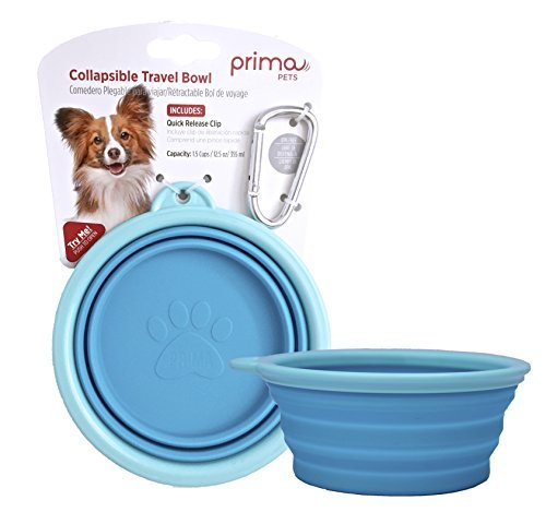 Prima Pet Expandable/ Collapsible Silicone Food & Water Travel Bowl with Clip for Small & Medium Dog and Cat, Size: 1.5 Cups (5.1 Inch Diameter Bowl) (AQUA) by Prima Pets